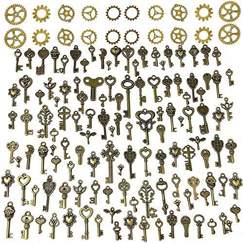 Sweieoni llaves Antiguas 125 PCS Bronce antiguo Vintage Esqueleto Key DIY Collar Colgante Charms key para manualidades Suministros Fiestas Decoración de la boda