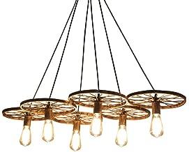 6 Rueda Lámpara de suspensión industrial retro Lámpara colgante araña techo E27 Industrial Vintage Retro Metal ideal para restaurantes, bares, cafeterías
