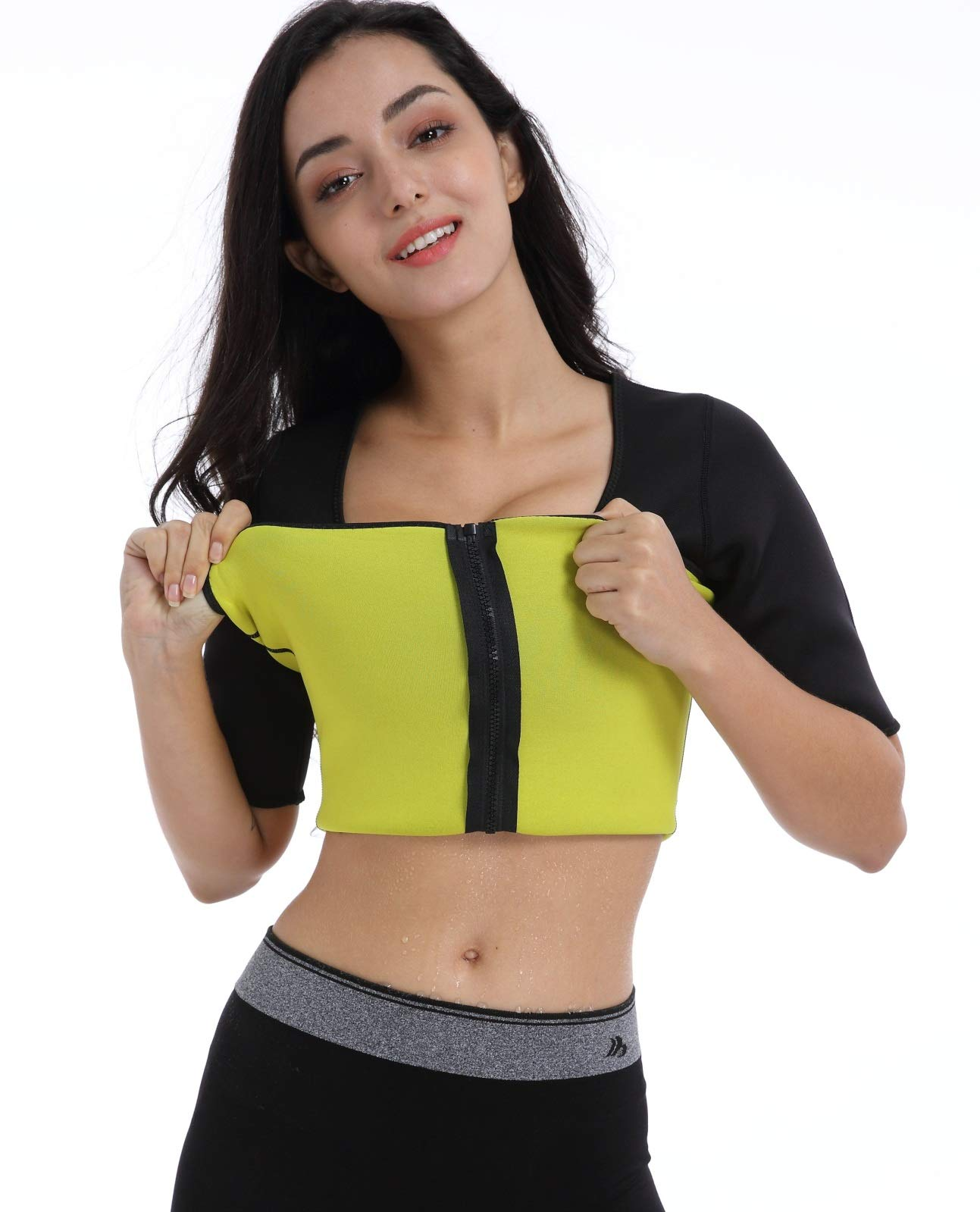 Stomach Fat Burner Valentina Womens Hot Thermo Body Shaper Arm /& Abdominal Trainer Best SCR Bodysuit for Weight Loss Workout Sweat Sauna Suit 4XL Slimming Long Sleeve Shirt Black S