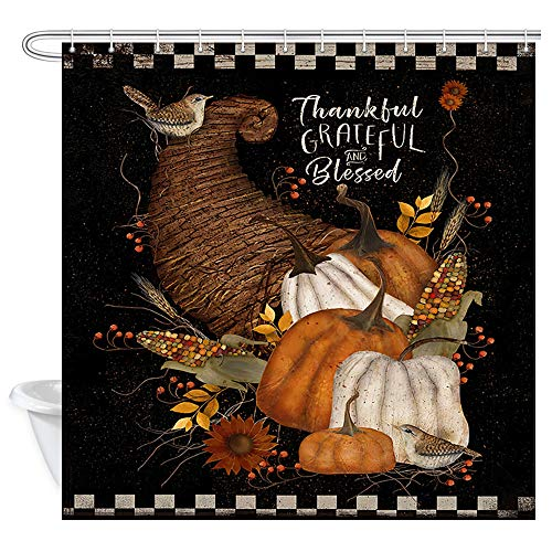 DYNH Thanksgiving Herbst Duschvorhang Herbst Ernte Kürbis Mais Sonnenblumen Stoff Duschvorhang für Badezimmer Polyester Duschvorhang 12 Stück Haken, 174 x 178 cm