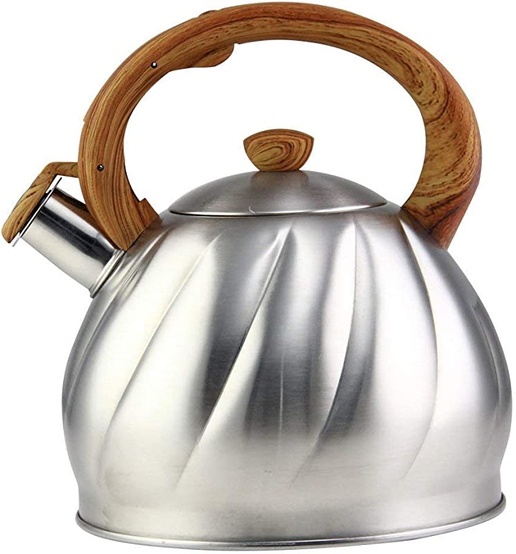 Riwendell Tea Kettle 2 1 Quart Whistling Stainless Steel Stove Top Teapot GS 04044AHY 2 0 L