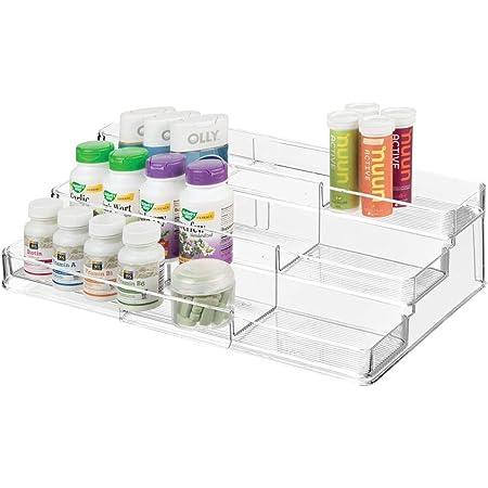 mDesign boite à médicaments avec 3 compartiments pour vitamines – armoire à pharmacie télescopique pour la salle de bain – pilulier pratique pour la cuisine – transparent