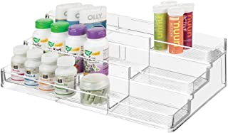 mDesign boite à médicaments avec 3 compartiments pour vitamines – armoire à pharmacie télescopique pour la salle de bain –...