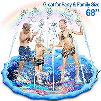 "Sprinkler and Splash Pad, Large 68"" Inflatable Sprinkler Pad Wading Pool, Outdoor Ocean Life Splash Play Mat Water Toy for Babies Toddlers Kids Boys and Girls"