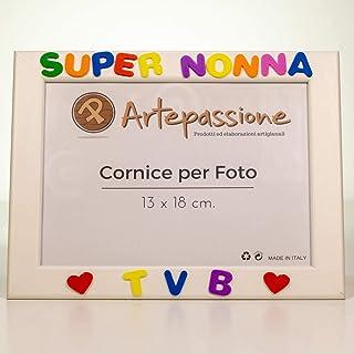 Cornici per foto in legno con la scritta Super Nonna TVB e decorata con cuoricini, da appoggiare o appendere, misura 13x18...