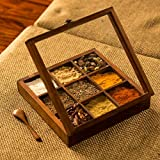 ExclusiveLane Spice Box With Spoon In Sheesham Wood - Spice Box For Kitchen Indian Wood Container With Lid Decorative Masala Dabba Organizer Handmade Spice Storage Racks Jars
