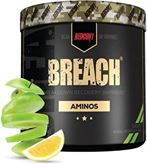 Redcon1 - Breach BCAAs (30 Servings) - Amino Acids, 2:1:1 BCAA Ratio, Increase Recovery, Caffeine Free, Strength and Endur...