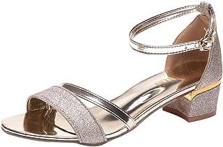 Sandals de de Amazon itJewel dorados tacón Zapatos Rq3AL4jc5
