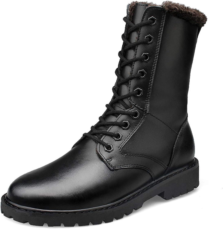 Men's Outdoor Sports Insulation Military Boots Faux Leather Rubber Sole Large Size Combat Boots,Single shoes & Plus Cotton,Blackpluscotton,37