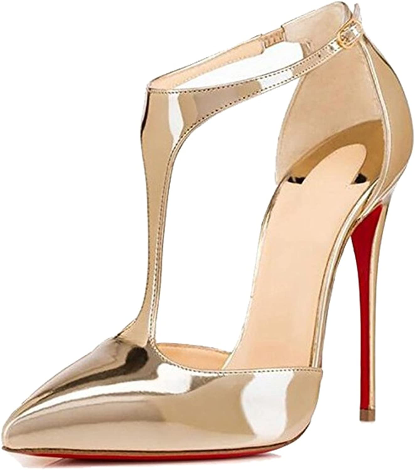 Women's Pointed T with Hollow Single-Piece Pointed Bag with gold Patent Leather High Heel Sandals(Heel Height  11-13cm)