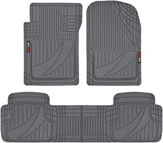 Motor Trend OF-793-GR FlexTough Advanced Performance Mats-3pc Rubber Floor Mats for Car SUV Auto All Weather Plus-2 Front & Rear Liner (Gray)