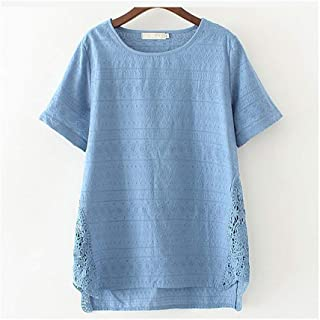 GAOXINGQU Large Size Female Models T-shirt Short-sleeved XL Thin Summer Dress in the Long Coat (Color : Blue, Size : 4XL)