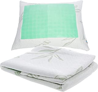 Mindful Design Bamboo-Derived Cooling Pillow Cover - Zipper Removable Pillow Case w/Cooling Gel (Standard)