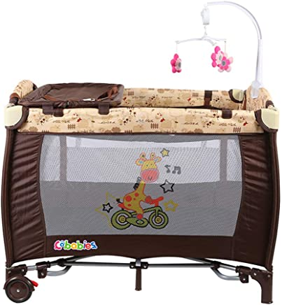 ALBB Sleep Play Centre  Travel Cot Animals Print  Portable Baby Cot Bed Playpen Entryway  Side Opening