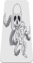 Menselijke schedel met tentakels antislip yogamat - milieuvriendelijke TPE dikke fitnessoefenmatten ideaal voor pilates, y...
