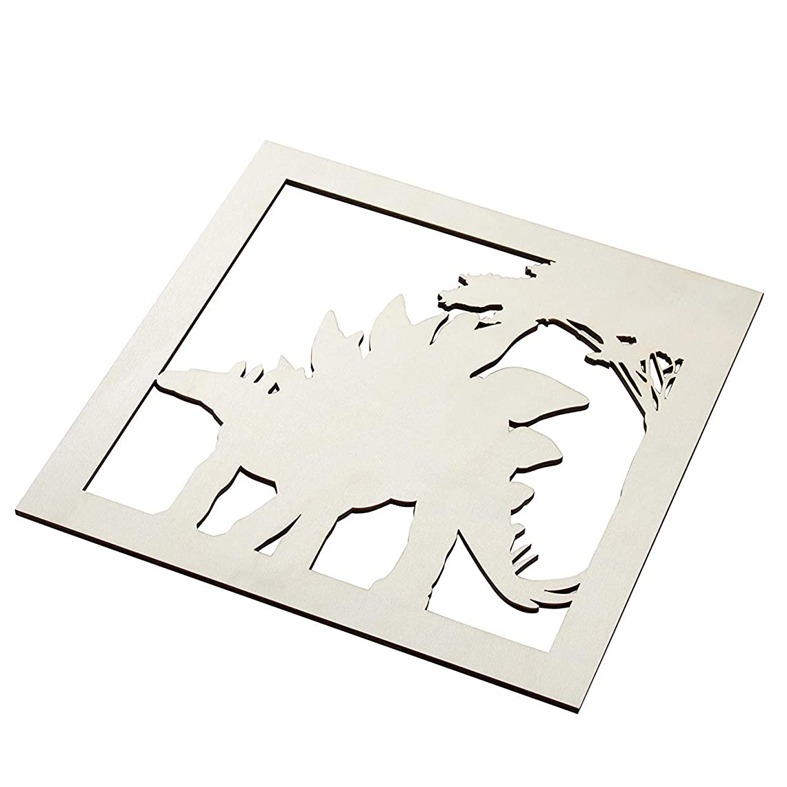 Genie Crafts 2-Piece Unfinished Wooden Stegosaurus Dinosaur Cutout, Wall Art Decor for Painting, DIY Wood Crafts, and Signs, 11.6 x 0.2 Inches jfjxf62882575106