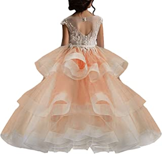 Long Little Girls Pageant Dresses for Wedding Kids First Communion Prom Ball Gown