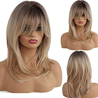 Alanhair Long Curly Blonde Wigs Shoulder-Length Synthetic Wigs for Women with Bangs 18 Inch Dark Root Light-Blonde Hair Wigs for White Women Girls