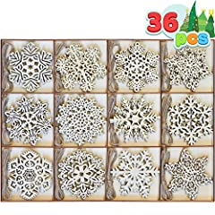 SUPER VALUE PACK. Our Christmas Ornament Set includes 36 Wooden Hanging Ornaments of 12 Snowflakes designs. The hanging wooden ornaments are made of natural wood. Perfect for Christmas Tree Indoor/Outdoor decorations. UNIQUE DESIGN & EASY TO USE. Whe...