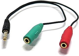 エスエスエーサービス [ スマホ/タブレット等イヤホン端子(3.5mm/4極/CTIA規格)ケーブル ] 3.5mm 4極(オス)-3.5mmステレオミニ(メス)+マイク入力(メス) [15cm]