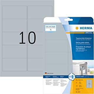 HERMA Etichette per Targhette, 96 x 50,8 mm, Etichette Adesive A4 per Stampante, 10 Etichette per Foglio, Argento