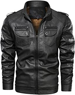 Snowmolle Men's Vintage Faux Leather Cotton Jacket Motorcycle Lapel/Standing Collar/Hooded Bomber Punk Zipper Jacket Slim