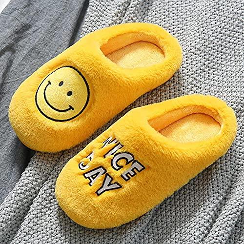 Zapatillas De Casa para Mujer Baratas,Zapatillas De AlgodóN con Cara Sonriente para Hombres Y Mujeres, OtoñO/Invierno 2021, Nuevo Hogar, Interior, PVC, Fondo Suave, Antideslizante, Zapatillas De Fe