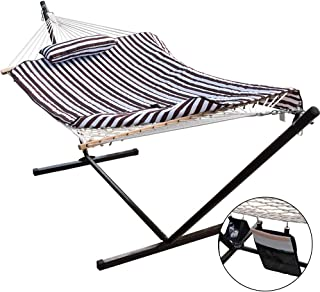 Lazy Daze Hammocks 12 Feet Space Saving Steel Hammock Stand with Cotton Rope Hammock Combo, Includes Quilted Polyester Hammock Pad, Pillow, Mag Bag and Cup Holder, Brown/White Stripe