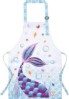 Mermaid Apron for Kids Girls Polyester Waterproof Apron for Kitchen Cooking Painting Gardening Baking Baby Toddler Bib Apr...
