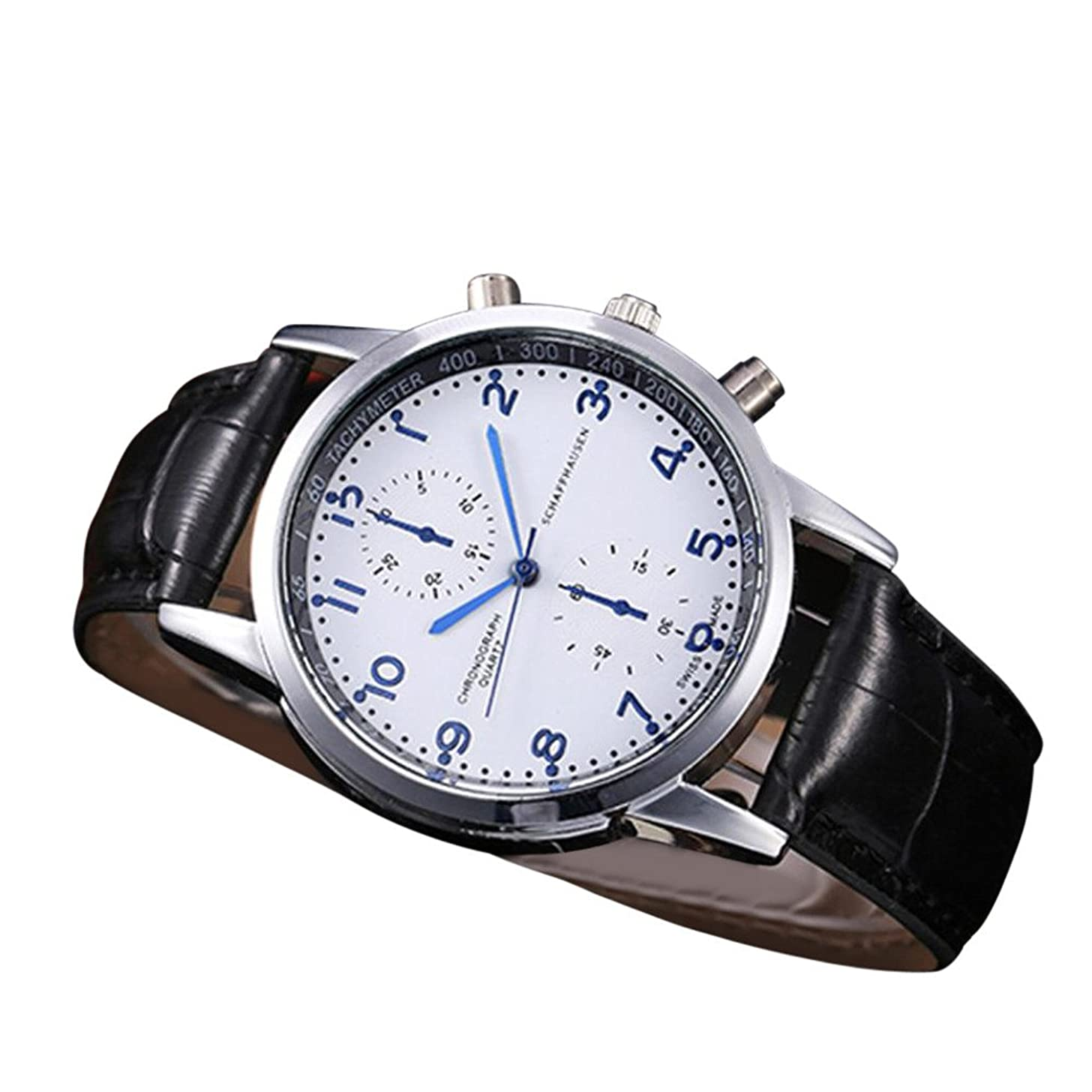 OWMEOT Watches,New Waterproof Unisex Casual Geneva Faux Leather Quartz Analog Wrist Watch Fashion