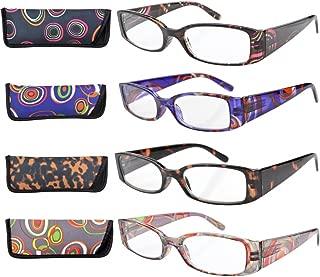 Eyekepper 4-Pack Beautiful Colors Spring Hinge Rectangular Reading Glasses +3.00