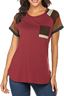 Chigant Women's Round Neck Tops Short Sleeve Tunic Ralgan Shirts Patchwork Blouses T Shirt with Pocket