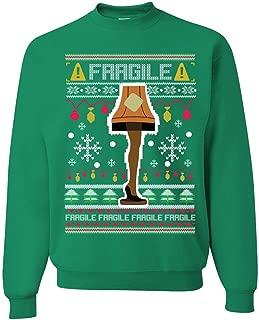 Fragile Leg Lamp Christmas Story Funny Xmas   Mens Ugly Christmas Sweater Crewneck Graphic Sweatshirt
