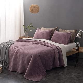 DrimbringerLuxury Quilt Bedspread Bedding + Two Shams,Soft All-Season Flannel Blanket Full Size Velvet Quilted Coverlet Set (Purple, King + 2 Shams)