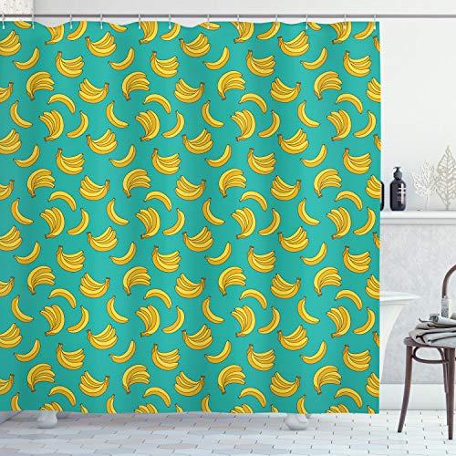 ABAKUHAUS Banane Duschvorhang, Tropic Fruit Vivid, mit 12 Ringe Set Wasserdicht Stielvoll Modern Farbfest & Schimmel Resistent, 175x180 cm, Gelb Teal