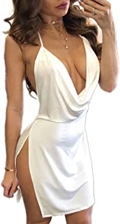VANCOL Women's Sexy Deep V-Neck Halter Backless Slit Mini Party Club Dress