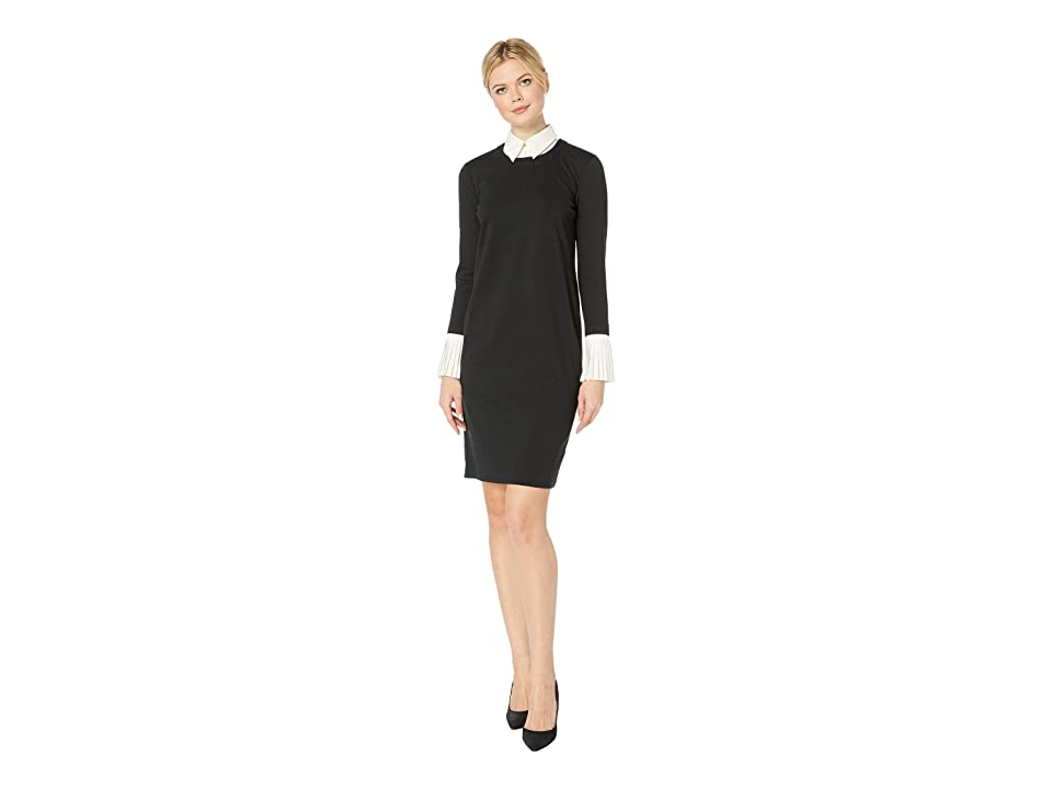 LAUREN Ralph Lauren Layered Ponte Shift Dress (Polo Black/Mascarpone Cream) Women