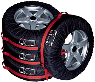 AutoCare Tire Bags & Seasonal Storage Tote Spare Tire Covers, Waterproof & Sun Protectors - Pack of 4 Red,Fits 16