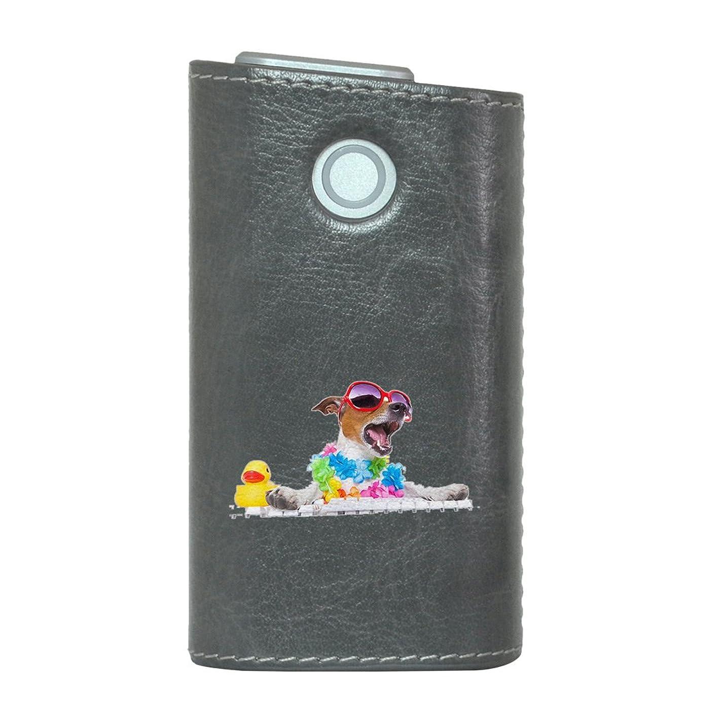 忠誠離す紫のglo グロー グロウ 専用 レザーケース レザーカバー タバコ ケース カバー 合皮 ハードケース カバー 収納 デザイン 革 皮 GRAY グレー アニマル 写真 カラフル 犬 夏 008914