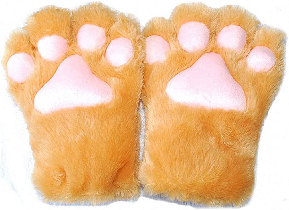 1 Pair Cute Bear Cat Kitten Paw Claw Gloves Soft Anime Cosplay Plush for Halloween Party Women Accessories 5 Colors