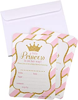 Homeford Glitter Prince/Princess Invitation Envelopes, 7-Inch, 12-Piece (Pink)