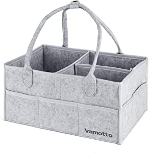 Vamotto Upgraded Diaper Caddy Organizer with Protective Ribbon Around All Sharp Edges  Portable Baby Storage Baskets Diaper Organizer  Changing Table Organizer for Nursery Baby Essentials Storage