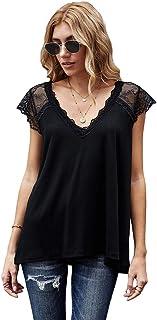 OrientalPort Maglietta da donna con scollo a V, a maniche corte, elegante, in pizzo, estiva, senza maniche, casual, a tunica