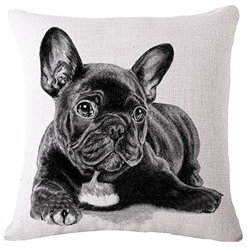 Diorama 17.7x17.7 Inch (45x45 cm) Cotton Linen Square Personalized Decorative Throw Pillow Case Cushion Cover Lovely French Bulldog Series Cushion Covers Pillow Cases (#001)