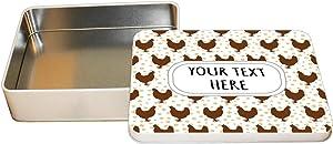 """Aluminum Metal Tin Custom Chicken Seemless Pattern Adults Trinket Box -6""""x8"""""""