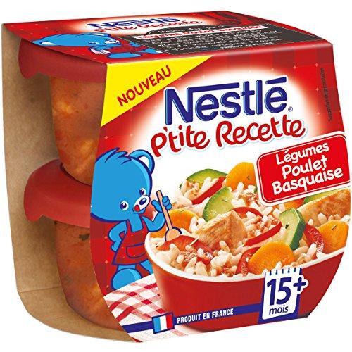 Nestlé Bébé P'tite Recette Poulet Basquaise - Plat complet dès 15 mois - 2 x 200g - Pack de 8 ( 16 Plats )