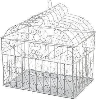 Darice VL1017 Metal Bridal Birdcage Card Holder, White