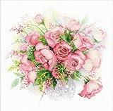 Riolis Stickbild-Set, Motiv Rosen in Wasserfarben, Kreuzstich, Watercolor Roses (14 Count)