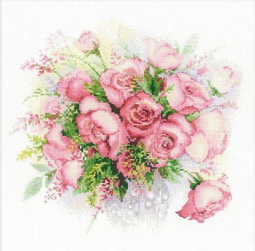 RIOLIS 1335 - Watercolor Roses - Counted Cross Stitch Kit 11¾' x 11¾' Zweigart 14ct. White AIDA 22 Colors - R1335