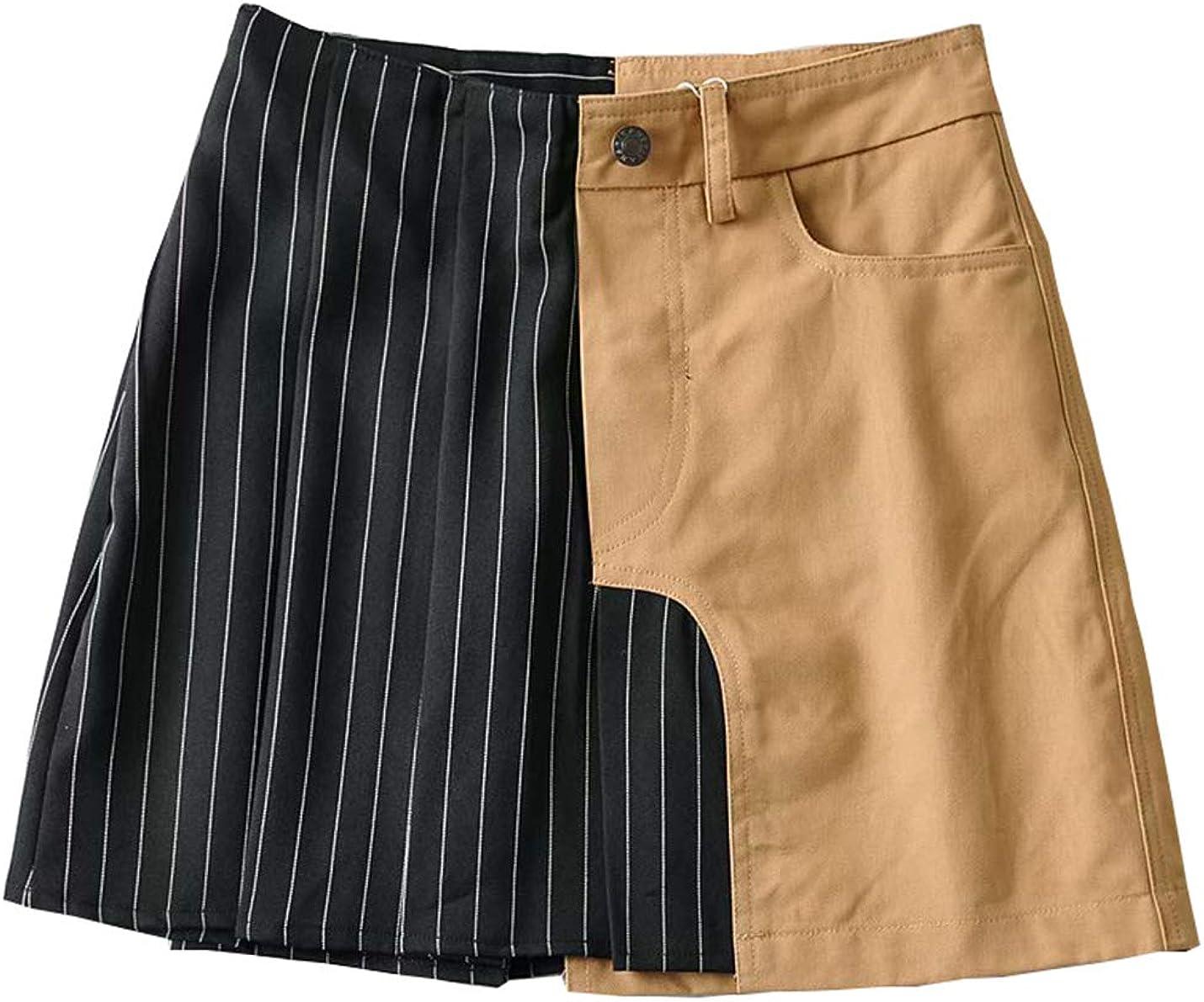 PAODIKUAI Women Casual Stripe Color Patch High Waisted A Line Skirts
